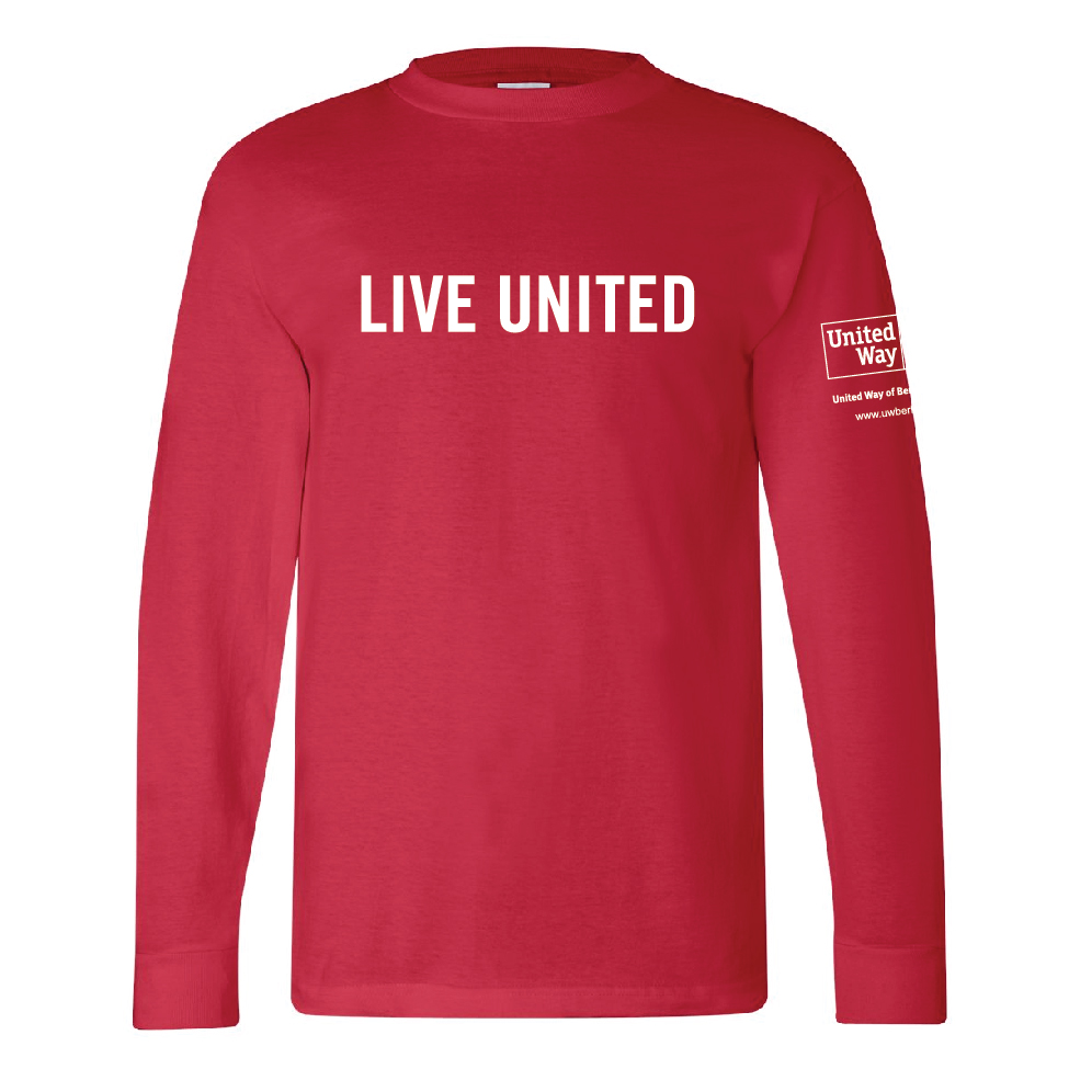 The Classic LIVE UNITED long-sleeve t-shirt. 100% cotton, Made in the USA