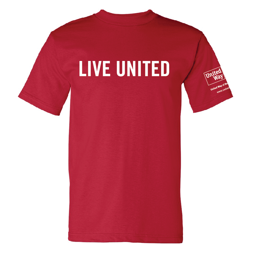 The classic LIVE UNITED t-shirt has a new look! 100% cotton, Made in the USA