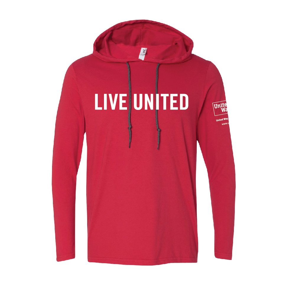 100% cotton, screen printed with LIVE UNITED on the chest and the United Way logo on the left sleeve.