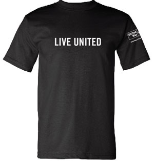 The classic Live United t-shirt in black. 100% cotton, Made in the USA