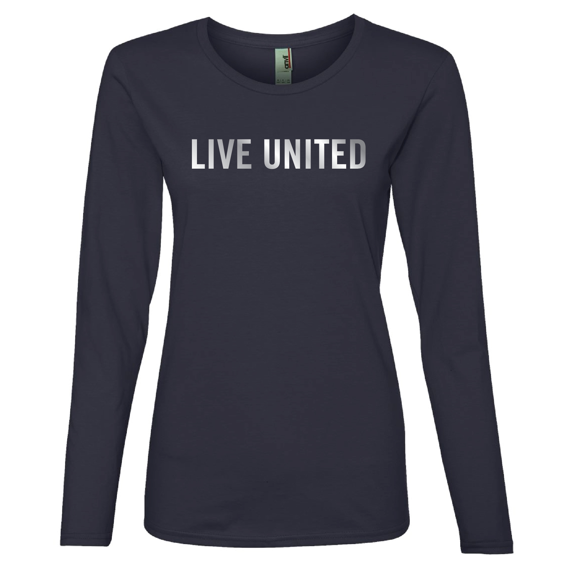 The LIVE UNITED tee in a flattering cut with a shiny twist: the LIVE UNITED logo is shiny metallic. Cotton.