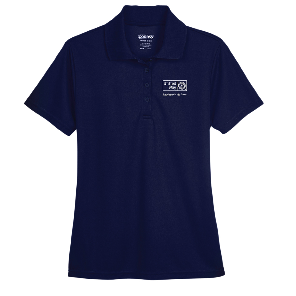 100% polyester moisture-wicking golf shirt with embroidered United Way logo
