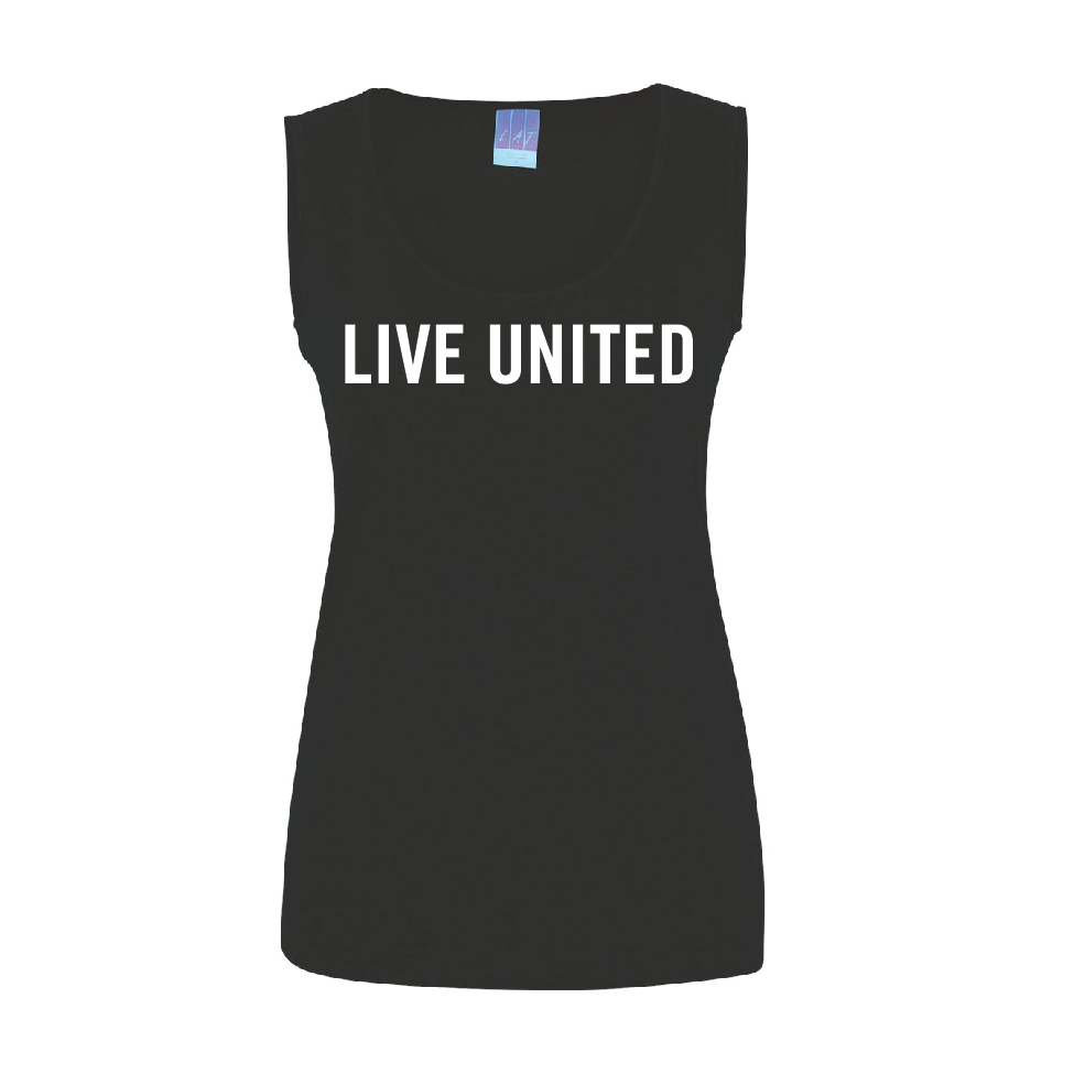 Women's 100% cotton premium jersey tank top screen printed with LIVE UNITED