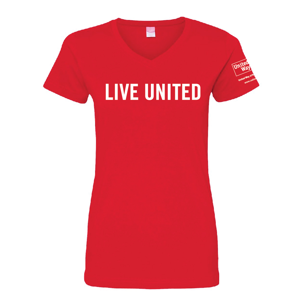 The LIVE UNITED tee in a flattering v-neck. 100% cotton