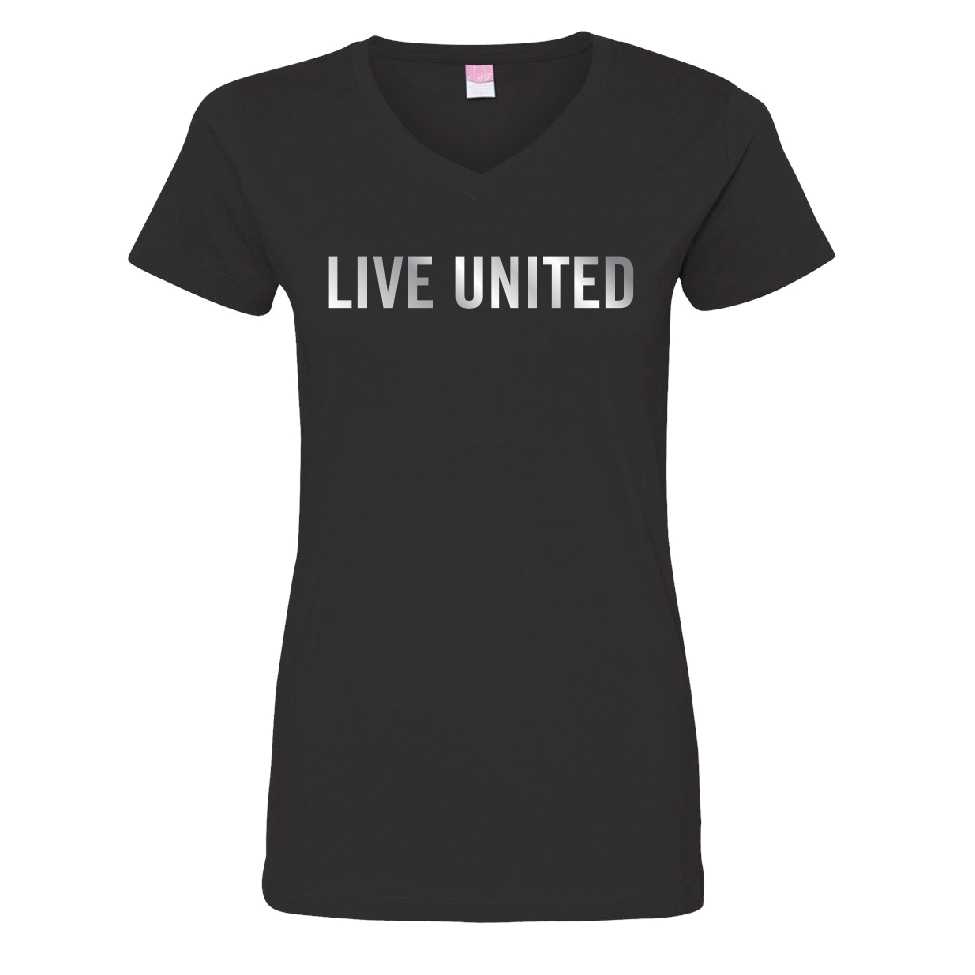 The LIVE UNITED tee in a flattering v-neck with a shiny twist: the LIVE UNITED logo is shiny metallic. 100% cotton
