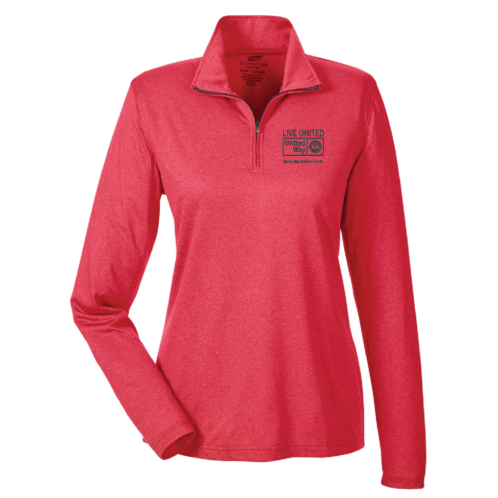 100% polyester heathered performance quarter-zip with embroidered United Way logo