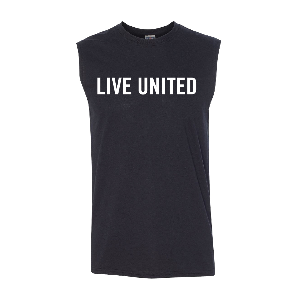 Dri-Power Active sleeveless 50/50 shirt screen printed with LIVE UNITED on the chest.