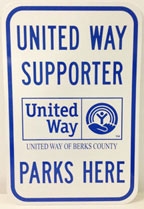 This popular year-round United Way reminder is a great way to reserve a company parking space for winners.  Mounting hardware and pole not included.
