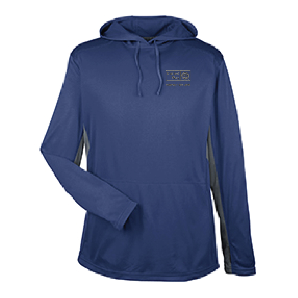 Sport hoodie with embroidered United Way logo. The sport hoodie is slightly oversized for a comfortable fit.