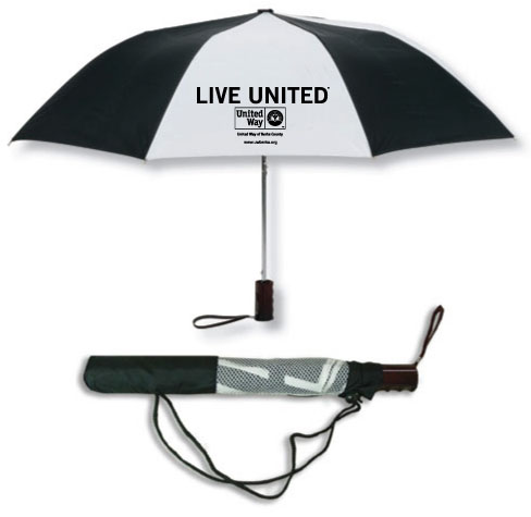 Black and white oversize classic umbrella featuring the Live United trademark and United Way logo